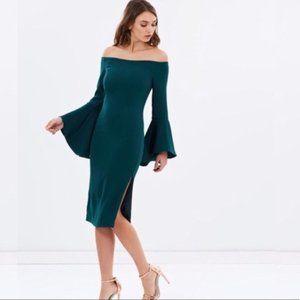 New! Bardot Solange Bell Sleeve Off Shoulder Dress